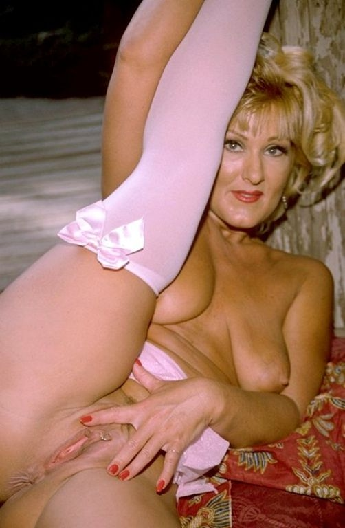 White lingerie granny fingers her pierced old puss