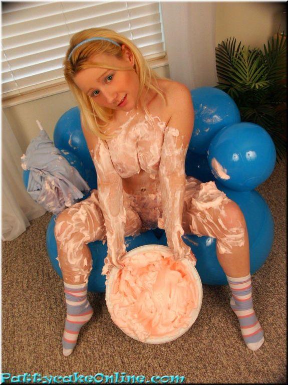 Busty teen girl covering boobies in goop