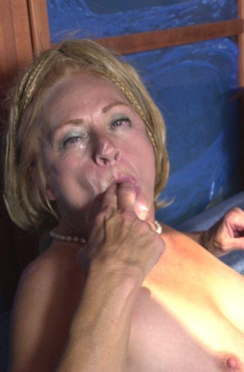 Nasty jizz craving granny licking sticky cum off h