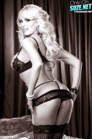 Stormy Daniels caught in black and white