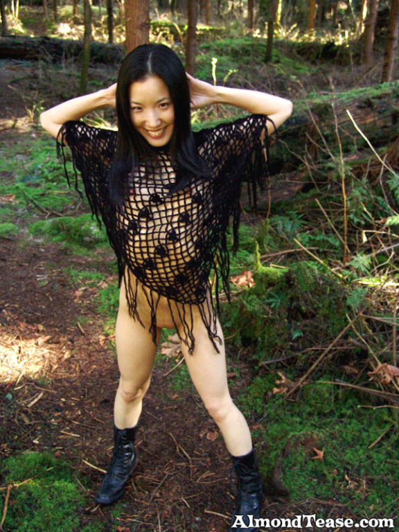 Asian cutie Almond in black shaw in the woods