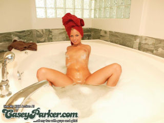 Casey Parker takes a hot bubble bath and masturbat
