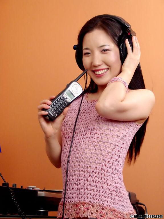 Asian almond tease disc jockey fun
