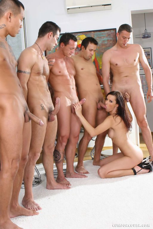 Kinky brunette gets naked and sucks five dicks