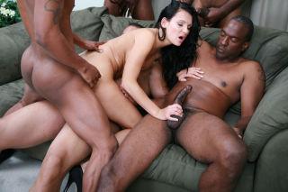 Brunette babe interracial gangbang orgy sex and an