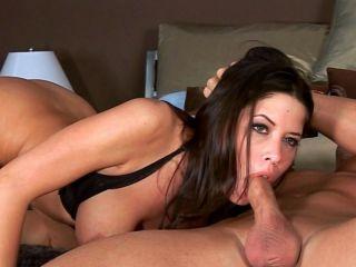 Sticks his cock between her tits