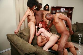 Horny redhead slut interracial anal orgy