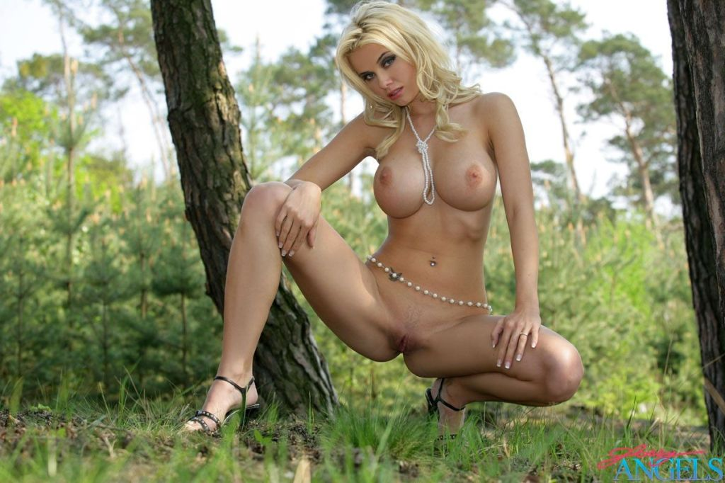 Blonde model with massive boobies showing in the b