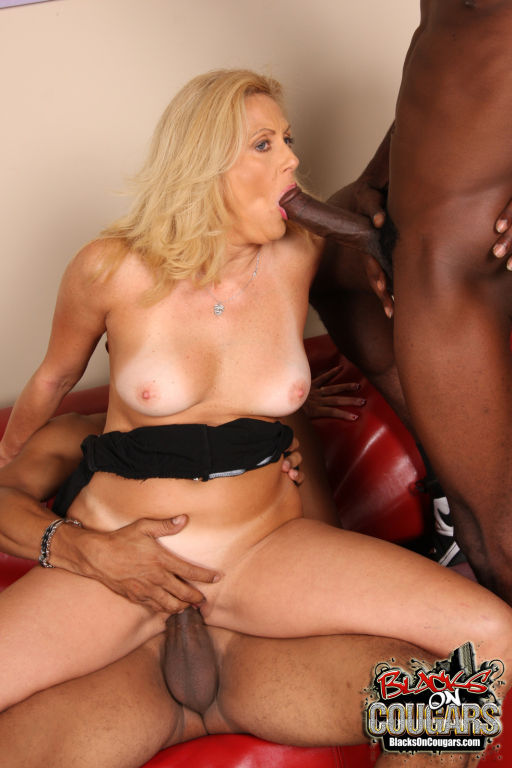 Mature hottie Dana Devine gets interracial MMF sex