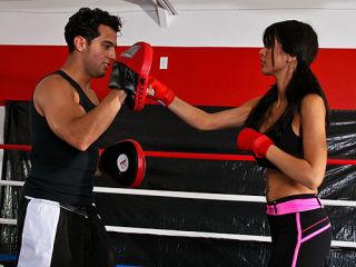 Shy Love pummels her instructors big hard dick in