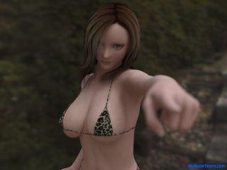 Realistic big boob toon babe in bikini