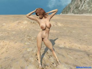 Big boob nude toon babe in the desert