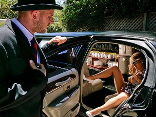 Busty Wife fucking limo drivers big hard cock