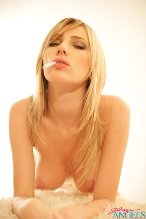 Smoking blonde beauty showing her sweet and big bo