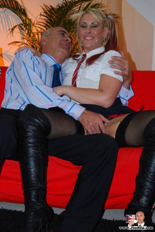 Horny slut gets ready for fucking a British senior