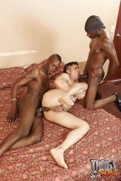Cute latino getting fucked by two black dongs