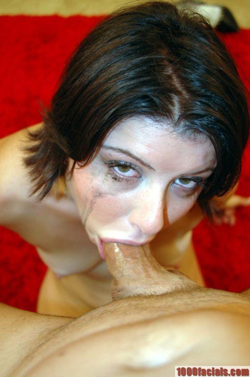 Torrid brunette Taryn sucks cock and gets facialed