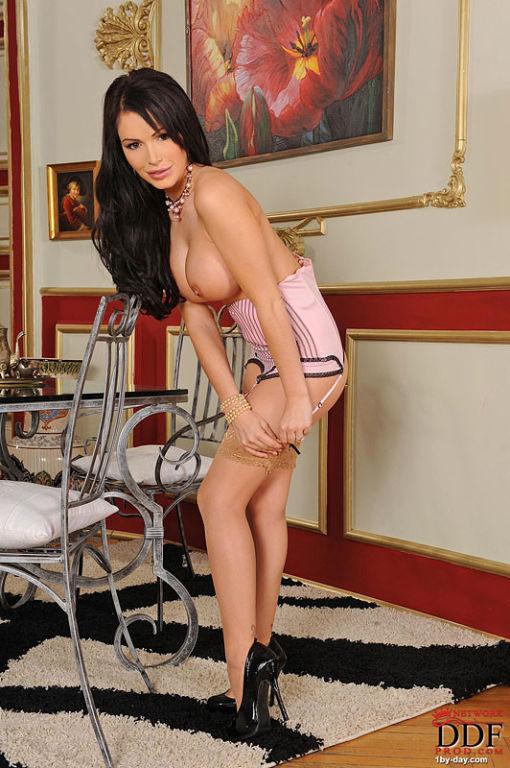 Gemma Massey busty brunette babe is stripteasing