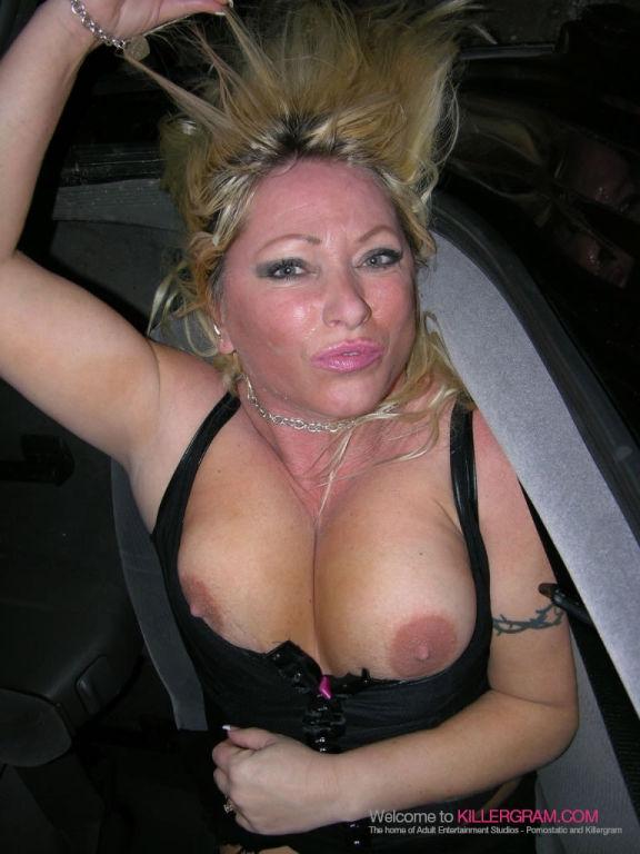 Busty Blonde MILF Sam Bardot Sucking Cock Outside