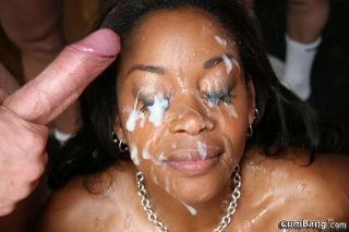Big tits black girl gets white facial cum bukkake