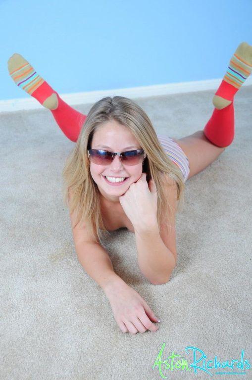Teasing teen in socks and panties