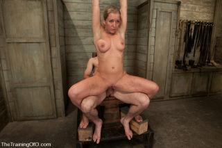 Dia Zerva slave girl in training scrubs toilets