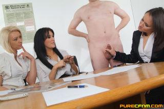 Three office girls examining a guys meatstick