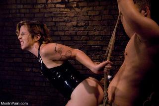 Tina Horn latex femdom with bound slave slut boy a
