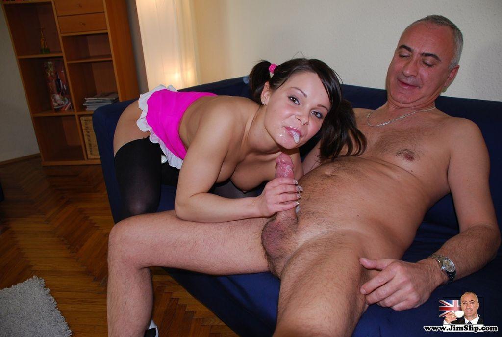 Old senior sticks his cock in her virgin asshole