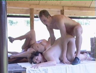 Grannies have a foursome as they picnic outdoors