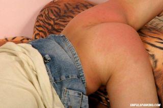 Older guy spanks a younger bare bottom chick