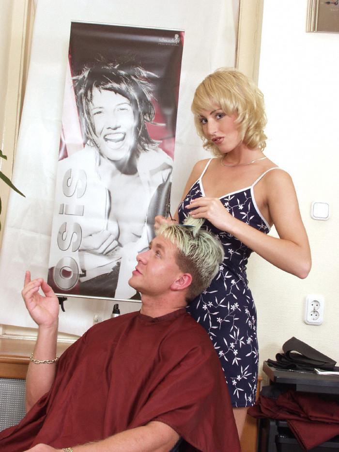 Sexy blonde hairdresser gets fucked