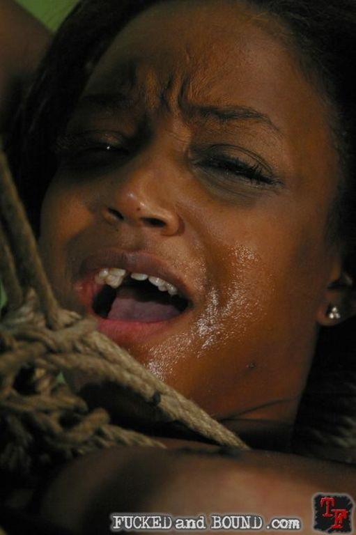 Mulatta in hard rope bondage and fucked by her mas