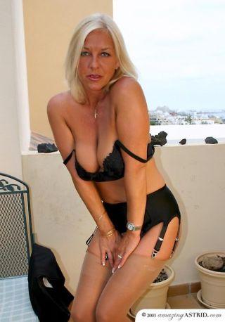 Amazing Astrid teasing in stockings