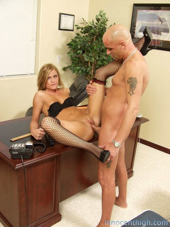 Horny blonde slut bends her tight ass over and pok