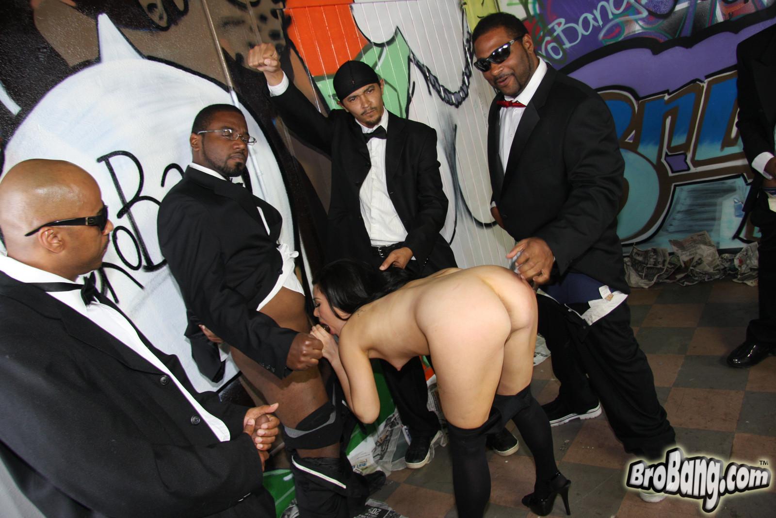 Pornstar ashley blue in interracial gangbang