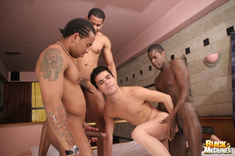 Three humongous dick ebony guys bang
