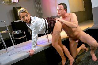 Babe in stockings foot teasing horny dick