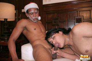 Three black Santas put their huge cocks to work tu