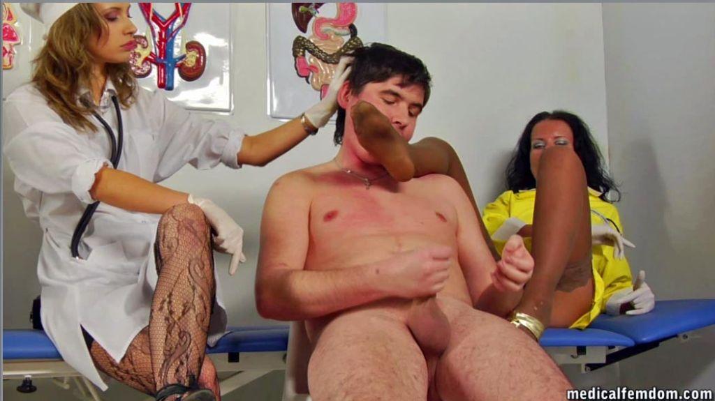 Femdom footjob after medical cock measuring