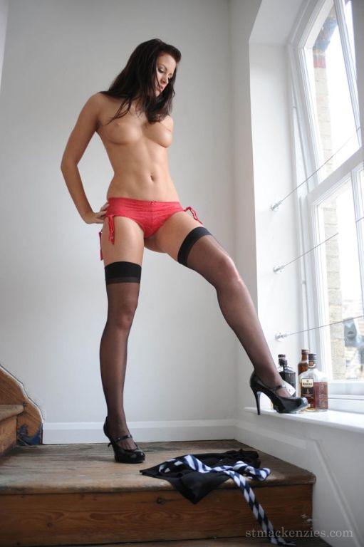 Schoolgirls strips down to nylons
