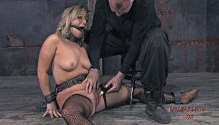 Bondaged blonde in extreme blowjob