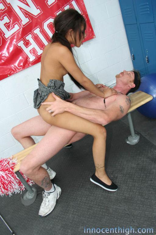 Small schoolgirl rides cock
