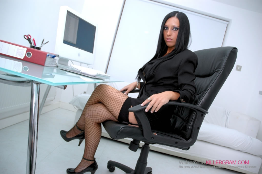 Erotic Office Pussy - Beautiful black haired office slut gets a load on her nice ...