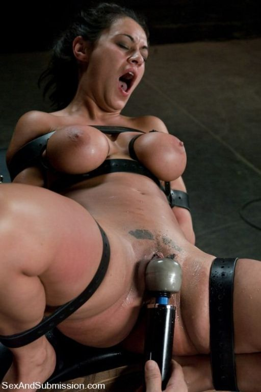 Obedient ladies in exciting bondage act and having