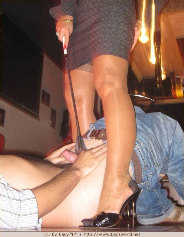 German mistress lady Barbara dominating in stockin