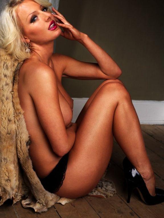Marie Plosjo hot busty blonde in black lingerie