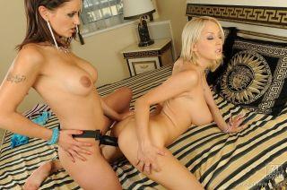 Mandi Dee and Valentina Cruz with a strapon dildo