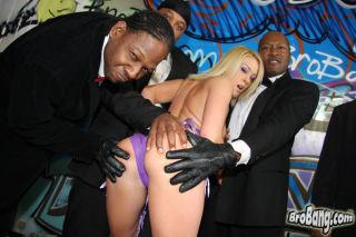 naked Brittany Angel black on white cumshots