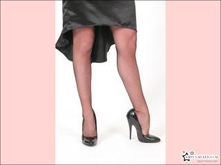 Two elegant ladies with hot legs posing in stockin